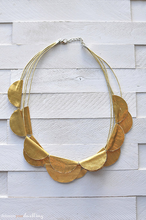Gold Scallop Necklace from regular Duck Tape!  Delineate Your Dwelling #ducktapecraft #goldscallopnecklace