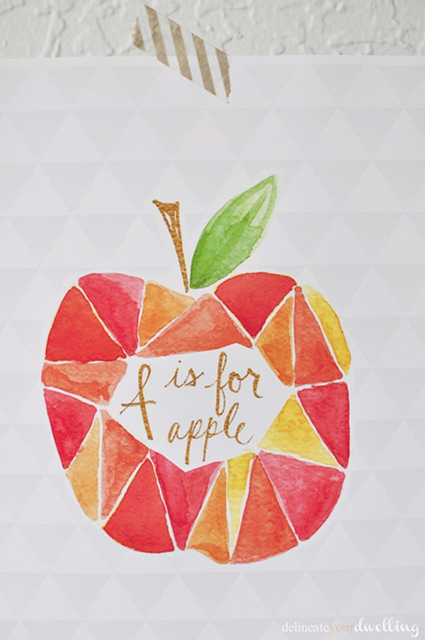 Paint a DIY Geometric Apple Watercolor piece of art work! Delineate Your Dwelling
