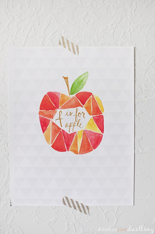 DIY a Geometric Apple Watercolor piece of art work! Delineate Your Dwelling