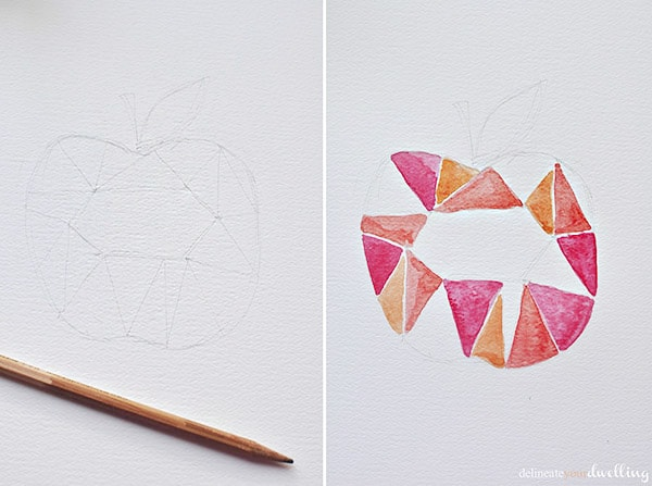 Apple Watercolor step 1