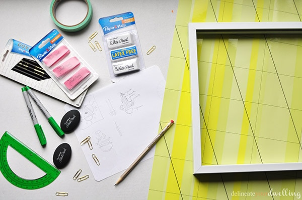 Learn how to use office supplies and transform them into shadowbox DIY artwork!  Perfect to hang in your office or to even make with your kids to kick off the new school year.  Delineate Your Dwelling #teachergift #DIYshadowbox