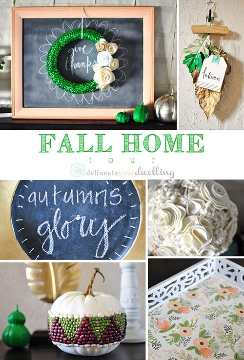 Fall Home Entryway, Delineate Your Dwelling #emeraldgreen #gold #white