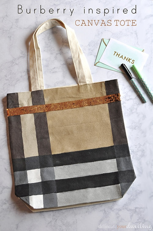 Learn how to make a simple Burberry Inspired Canvas Tote Bag! The perfect inexpensive DIY craft to replace a Burberry canvas weekend tote bag. Delineate Your Dwelling #Burberrytote #Canvastote