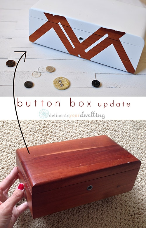 Learn how to update and transform a Button Box into something special : from a simple plain box to a graphic pretty decoration. Delineate Your Dwelling #buttonbox
