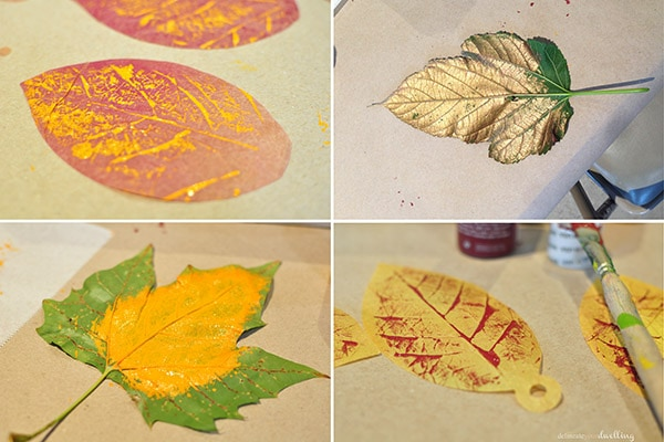 Learn how to make these simple DIY leaf press leaves for a fun autumn hanging display, inspired and created during an Anthropologie window workshop.  Delineate Your Dwelling #anthrowindow #anthropologiewindow