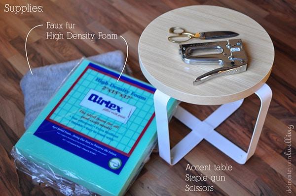 faux fur stool supplies