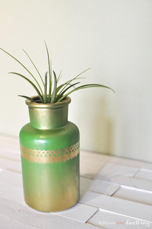 Gold + Green Accent Jar