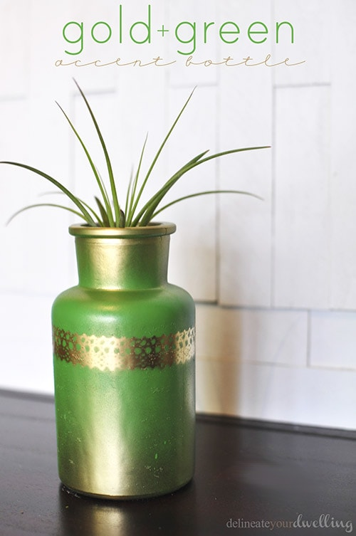 Green and Gold Accent Bottle