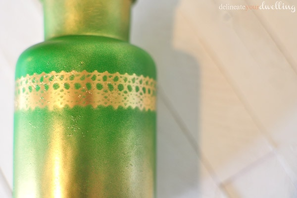Gold + Green Lace Bottle