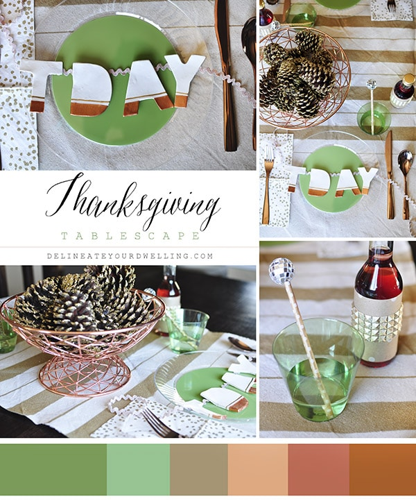 Thanksgiving Table Green Copper Gold