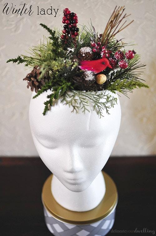Elegant Greenery Winter Lady