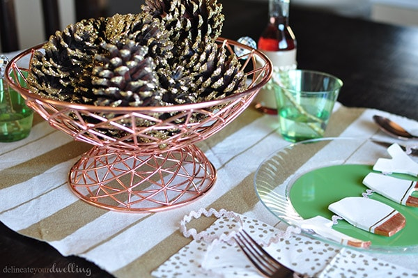 Thanksgiving Tablescape setting pinecones
