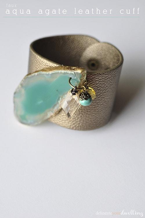 faux aqua agate leather cuff, Delineateyourdwelling.com