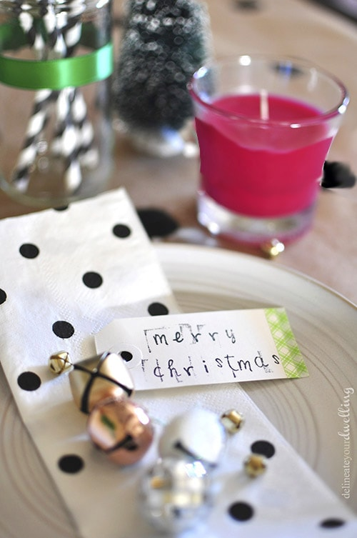 Colorful Christmas Party plate setting