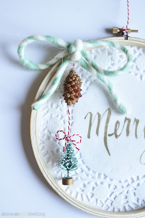 Embroidery Hoop Christmas Wall Decor, Delineateyourdwelling.com