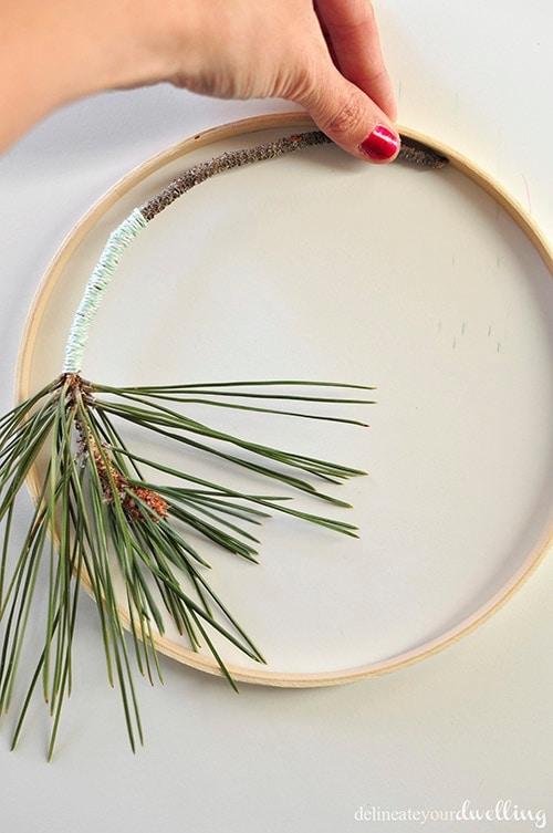 Evergreen Hanging Hoop branch