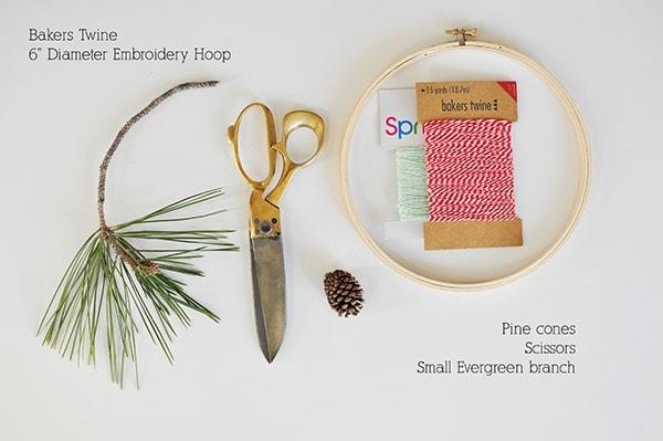 Evergreen Hanging Hoop supplies