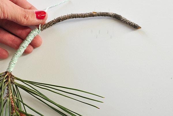 Evergreen Hanging Hoop yarn wrap branch