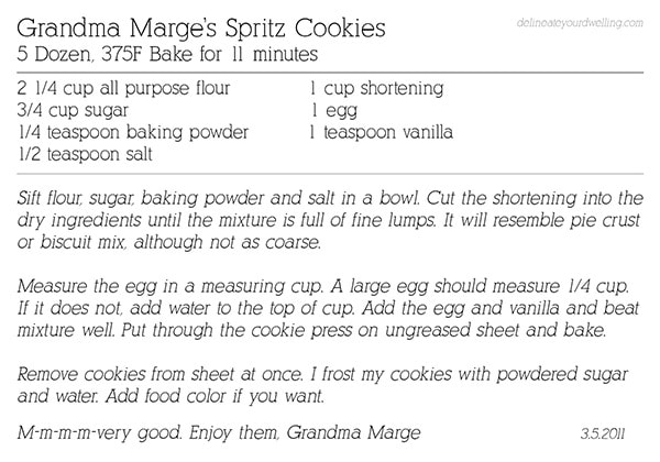 Spritz Cookie recipe, Delineateyourdwelling.com