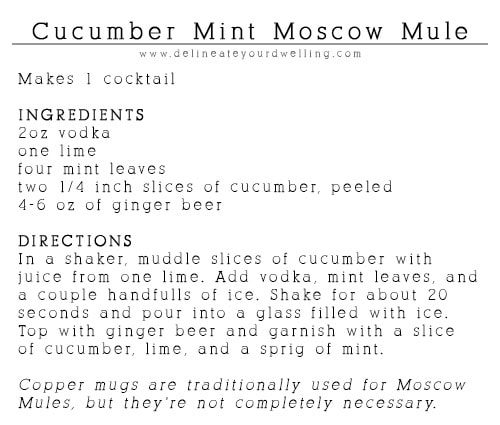 Cucumber Mint Moscow Mule recipe, Delineateyourdwelling.com