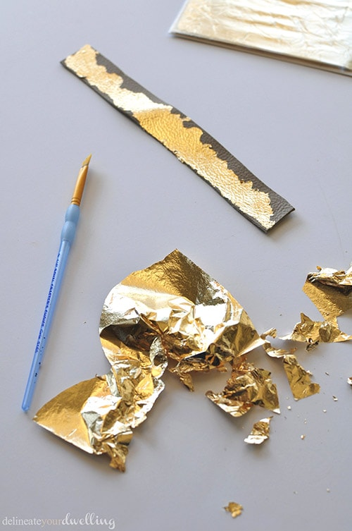Leather Cuffed gold leaf, Delineateyourdwelling.com