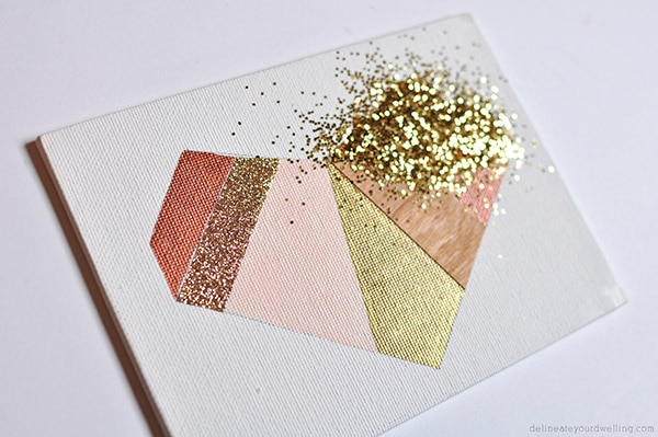 geometric heart glitter
