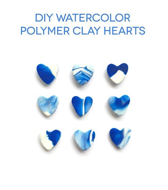 DIY Watercolor Polymer Clay Hearts @linesacross