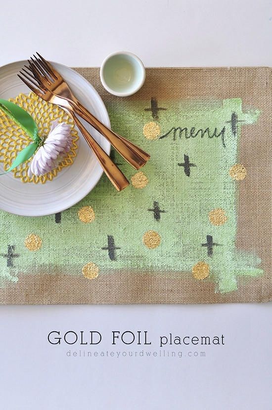 Gold Foil Placemat, Delineateyourdwelling.com