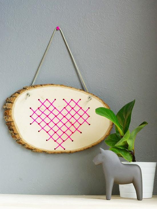 cross stitch heart in wood