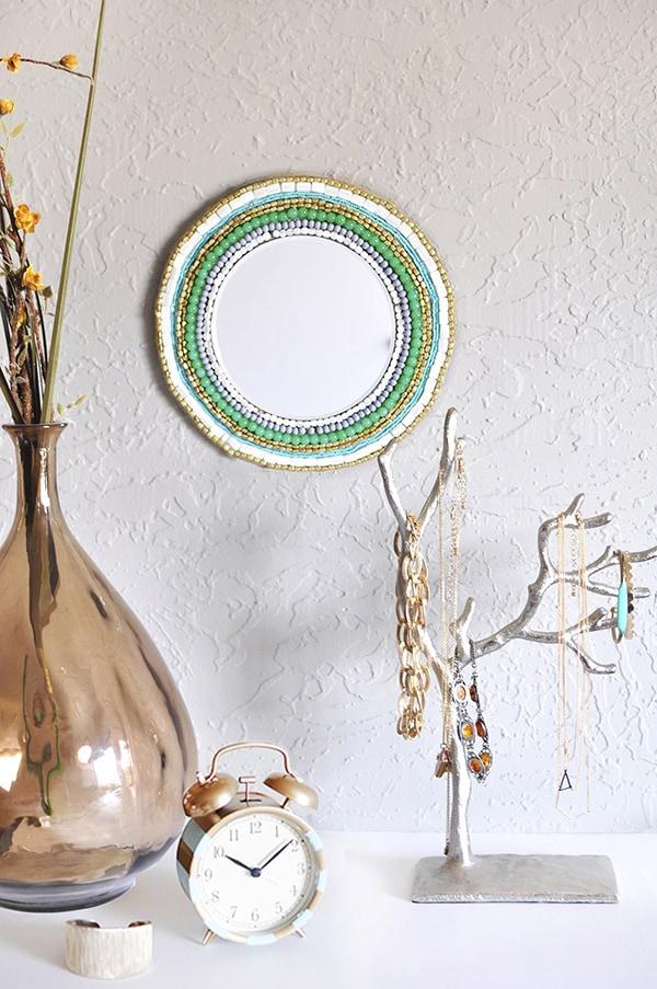 stunning Round Beaded Wall Mirror