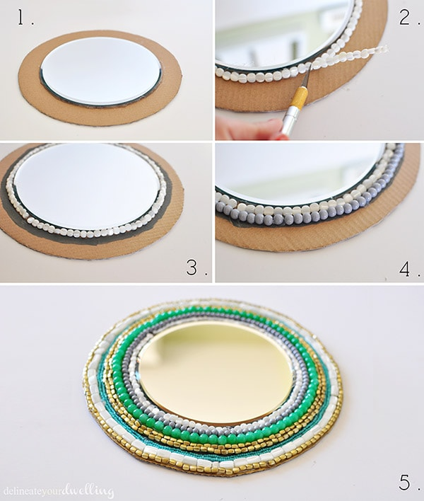 Beaded Wall Mirror steps