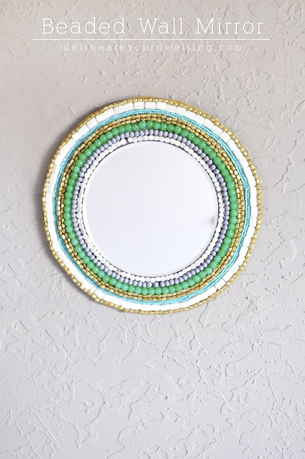 Round Beaded Wall Mirror