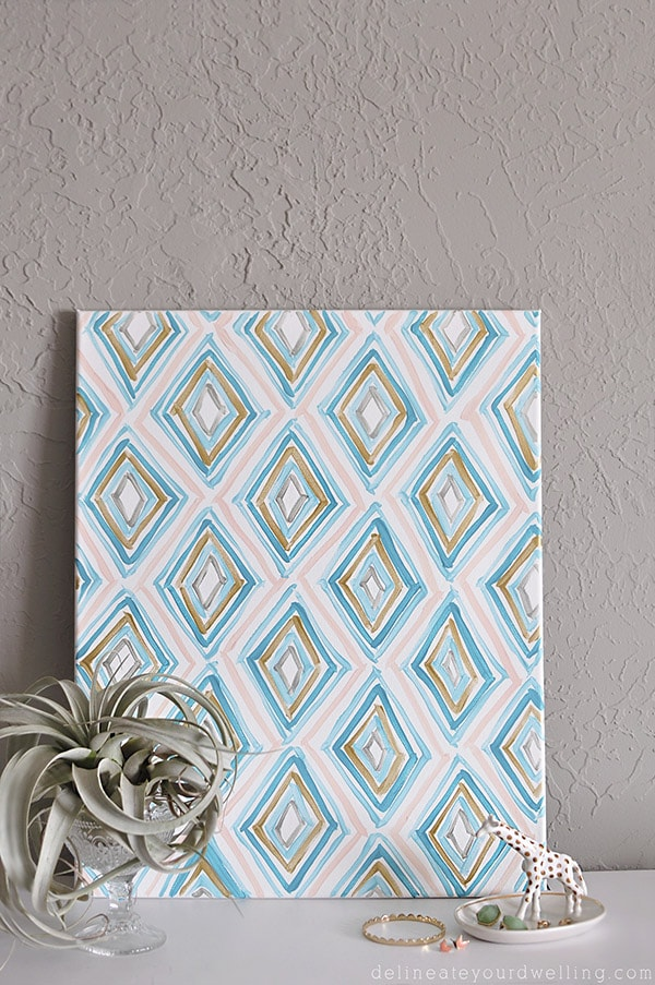 Learn how to make Easy Art for your home with abstract Diamond Patterns. Using acrylic paint, a canvas and a fun DIY tutorial you can become your own artist. Delineate Your Dwelling #easyart #abstractart #diamondart
