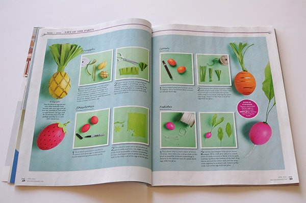 Published in Every Day with Rachael Ray. Check out my three page spread detailing how to make my fun food Easter Eggs including a pineapple, radish, carrot and adorable strawberry! Delineateyourdwelling.com #fruiteastereggs