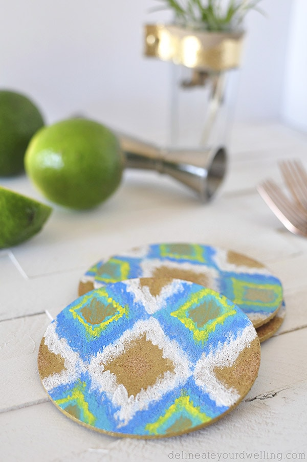 DIY Ikat Coaster closeup, Delineateyourdwelling.com