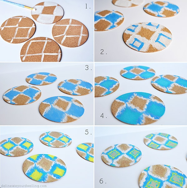DIY Ikat Coaster steps