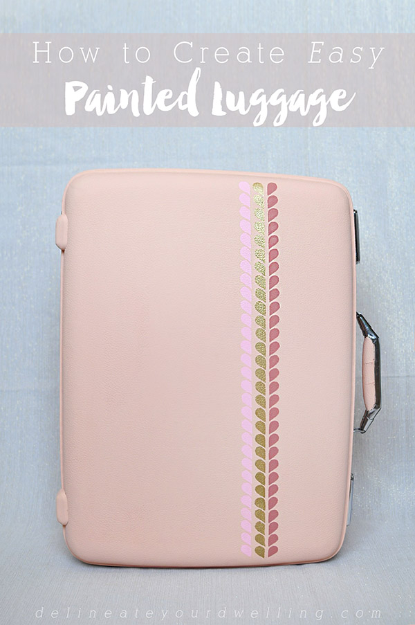 Learn how to transform an old suitcase piece into an Easy DIY Hand Painted Luggage statement!  A quick and easy colorful update will give your travels a whole new look. Delineate Your Dwelling #paintedluggage #paintsuitcase