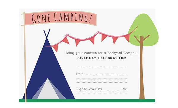 Birthday party invitation camping birthday invite filmwisefo Image collections