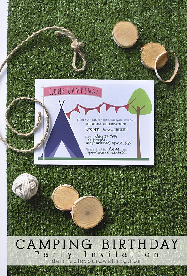 Camping Birthday Party Invitation, Delineateyourdwelling.com