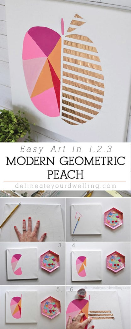 Easy Modern Geometric Peach Art