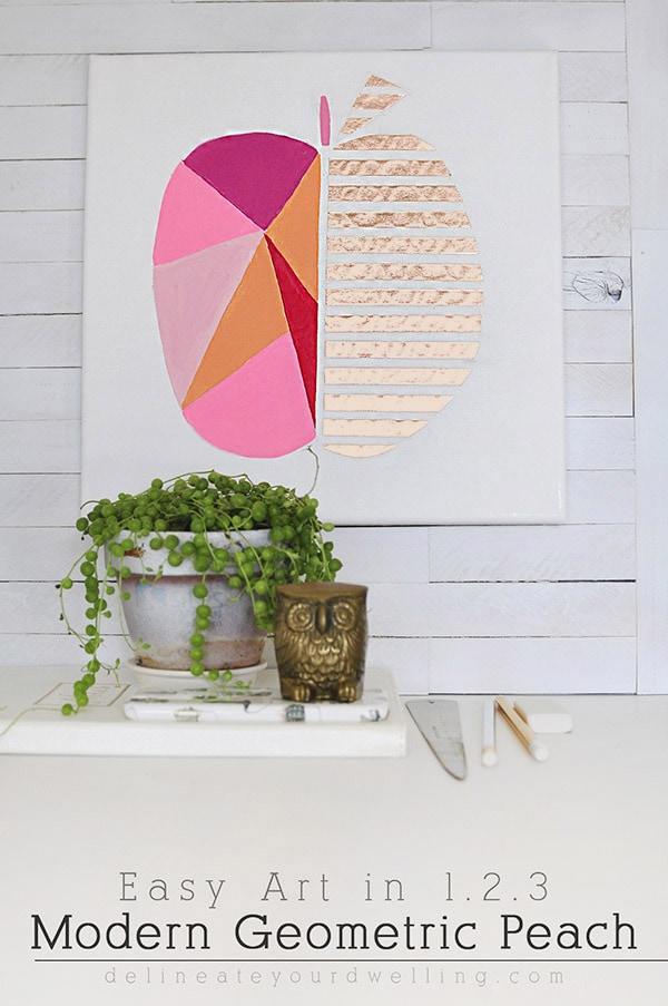 Modern Geometric Peach Art