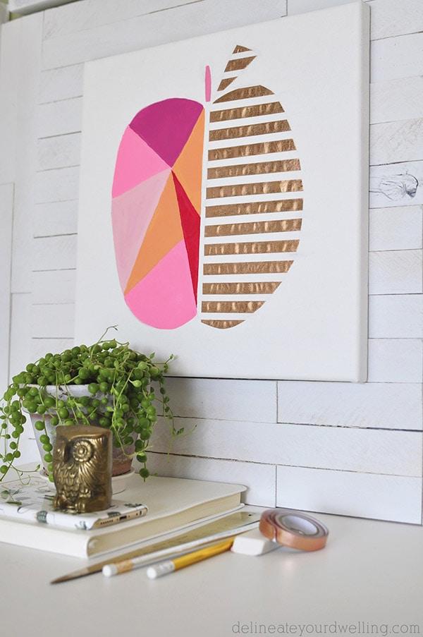 Modern Geometric Peach painted