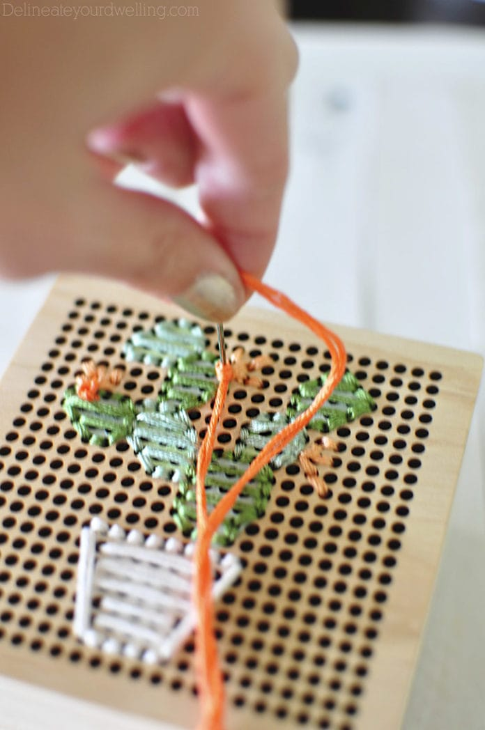 Simple Cacti Embroidery Box sewing