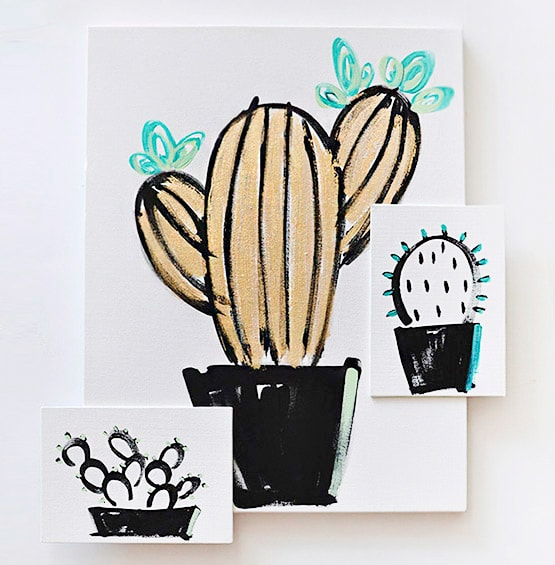 How to paint Cactus and Simple Succulent art
