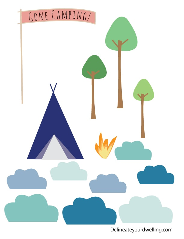 Camping-Birthday-Cake cutouts
