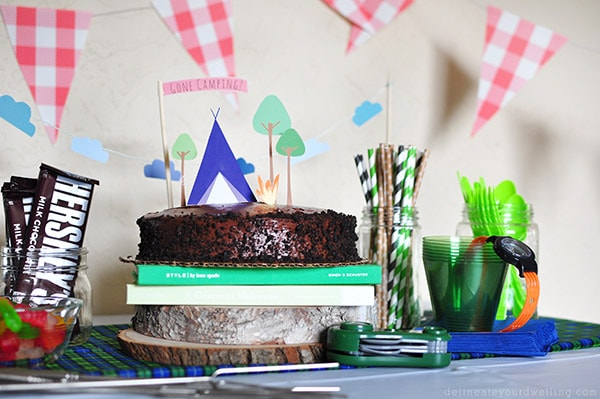 Camping Birthday Chocolate Cake