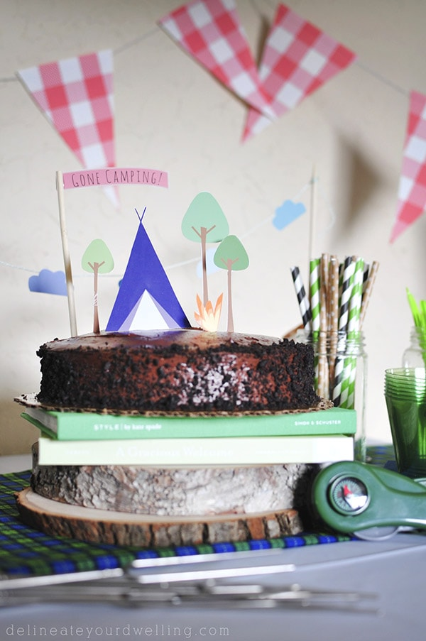 Camping themed Birthday Cake topper