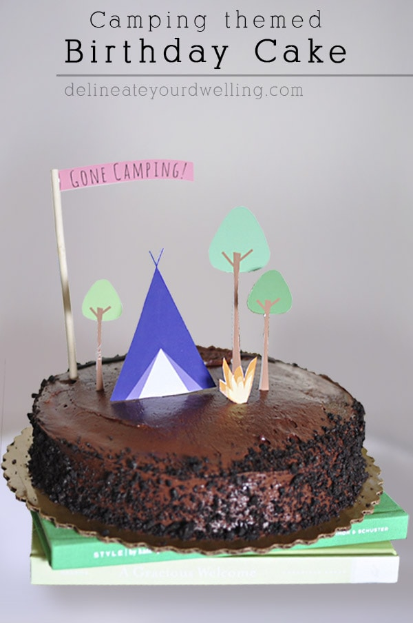 Paper Cutout Camping themed Birthday Cake