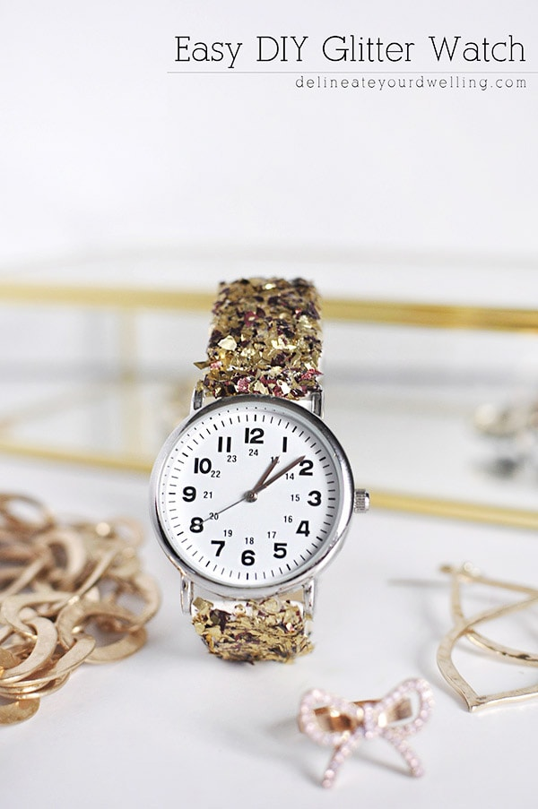 Learn how to make an Easy DIY Women's Glitter Watch.  It is the perfect simple craft project you can make for a gift idea or just a fun night on the town. Delineate Your Dwelling #DIYwatch #glitterwatch