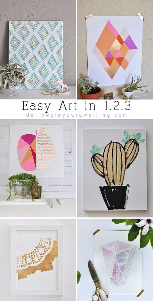 It is much easier than you may think to create and make your own artwork! And did I mention significantly more budget friendly. See all these easy artwork ideas, tips and tricks to creating your own custom masterpieces for whenyou think you can't create art. Delineate Your Dwelling #easyart #easyartwork #arthomedecor